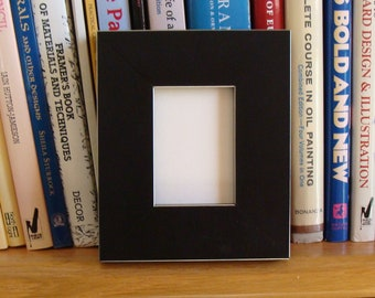 Black / Silver Edged Wood Picture Frame for Small Photos, ACEO's, Wallet Photos, Trading Cards / Museum Glass, Back Hardware Contemporary