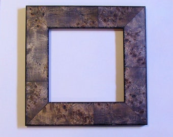 """Wood Picture Frame Sophisticated Rustic Burl Holds 7"""" Square Small Print, Photo  or Art /  UV Glass & Hardware, Backing Nurree Moulding"""