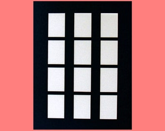 """Picture Frame Mat for Trading Cards, ACEO, Photos, Etc. Multi Opening Collage Matting Fits 16""""x20"""" Frame 12 Openings  Color Choice"""