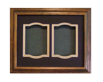 """Wood Picture Frame & Archival Mat  8.5 x 11 with 3.5 x 5"""" Openings for Photos TruVue Premium Glass and Backing Hardware for Hanging"""