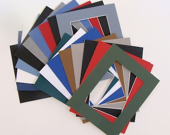 """Lot of 12 Photo Mats for 7 x 9"""" Frames, Matboards with 4 x 6"""" Openings Variety of Colors, Archival Quality Acid & Lignin Free"""