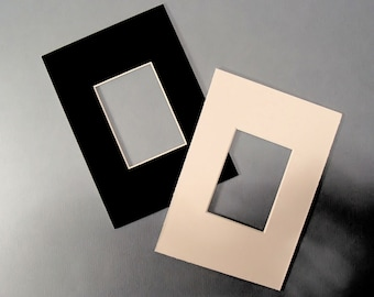"""6 ACEO  Picture Frame Mats  to Fit  2.5 x 3.5""""  Photos or Art Miniatures Color Variety Choose Your Frame Size Blacks, Whites or 1/2 of Both"""