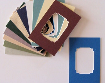 Matting 6 Mats for Trading Cards,  Photo, ACEOs. etc. Fancy Corners Archival Mat Board Color Range or Variety Choose Sizes to Fit Your Frame