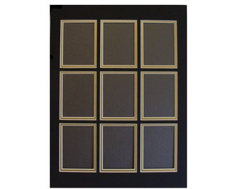 """Picture Frame Mat 9 Openings Trading Cards, ACEO, Photos Etc. Multi Opening Collage Matting Fits 12 x 16""""  Frame Color Choice, Custom Sizes"""