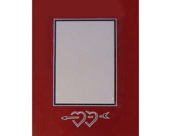 """Picture Frame Mat Valentines Day, Sweetheart, Wedding Engagement Photos Archival Quality 9x12"""" Matting  Other Sizes Colors Designs Available"""