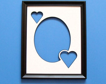 """Wood Picture Frame & Archival Mat  has Oval Opening for 5x7"""" Photo + 2 Hearts to Hold Wording or More Photos UV Protecting Non Glare Glass"""
