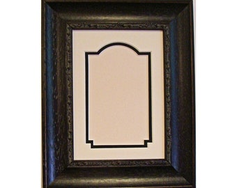 Picture Frame Black with Brown Highlights Decorative Lip Hold 2.5 x 3.5 ACEO, Trading Card, Photo or Art Cove Cut Double Mat & UV Glass