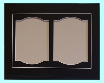"""Photo Frame Mat with Two Fancy Openings for 5 x7"""" Photos Fits 11 x 14"""" Picture Frame Archival Matting Choice of Colors Other Sizes Available"""