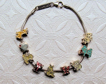 "Sterling Silver Bracelet Animal Themed for Little Girls or Boys Kidz by Biagi, 6.5"" Charm Bead bracelet Child Sized Brand New Unused."