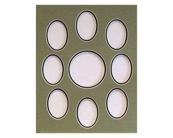 """Photo Frame Collage  Mat 7 Opening Mat Fits 11 x 14"""" Picture Frame 6 - 2.75 x 3.75"""" Ovals and 1 Center Round 3.75 x 3/75"""" Choose Colors"""