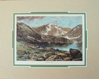 Thomas Moran Set of Steel Engravings 1873 Chicago Lake  & Snow-Mass - Hand Colored Colorado Rockies Antique Prints Western Archival Matted