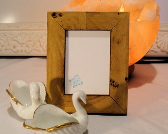 """WoodPicture Frame  Art Cards, ACEO's, Trading Cards, Small Prints, Photos,  2.5 x 3.5""""  Museum Glass, Rustic Muted Yellow & Brown Finish"""