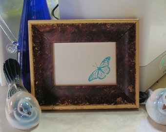 """Wood Picture Frame - Mahogany Burl Finish /  Art Cards, ACEO's, Trading Cards, Small Prints, Photos  2.5 x 3.5""""  Museum Glass  Hardware"""