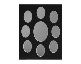 """Picture Frame Mat, 9 Oval Openings,  Multi Opening Collage Matting  Fits 11 x 14"""" Mat Color Choice,  Holds 3.5x5"""" & 8  - 2x3"""" Art / Photos"""