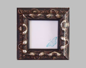"""Ornate Victorian Wood Picture Frame Brown / Gold Highlights & Patina for 4"""" Photos or Art / Museum Glass, Backing and Hardware"""