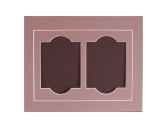 """Photo Frame Mat with Two Fancy Openings for 3.5 x 5"""" Photos Fits 8x10"""" Picture Frame Archival Matting Choice of Colors Other Sizes Available"""