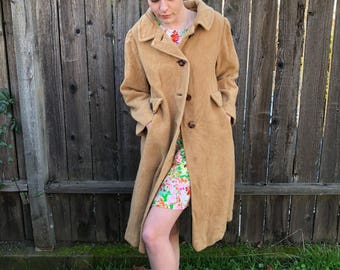 60s 100% Camel Hair Peacoat Camel Color - Silk Lined