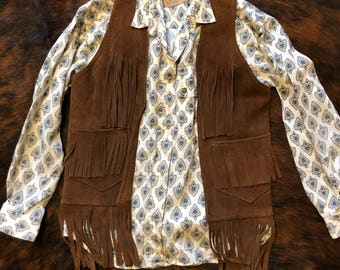 70s Brown Suede Leather Fringe Vest - Small