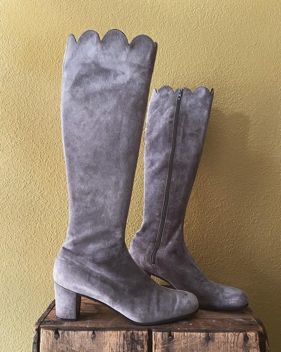 Joseph Magnin grey suede gogo boots tall with scal