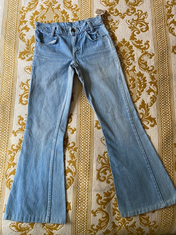 Levi's Orange Tab Bell bottoms with small denim p… - image 3