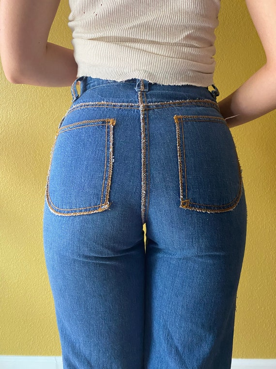 Rare 70s high waist bell bottoms with reverse stit