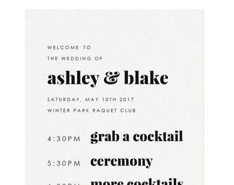 fairfax 11x17 and 20x30 bar menu sign template modern event etsy
