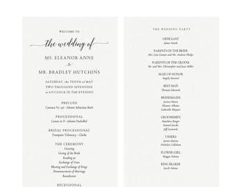 Adel: 4x9 Wedding Program Template in Black, Classic Elegant Wedding Program,  Editable PDF, Calligraphy Flat Panel PDF Instant Download