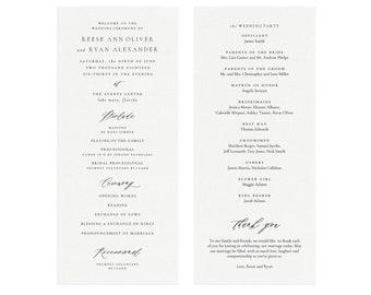 Wedding program template | Etsy