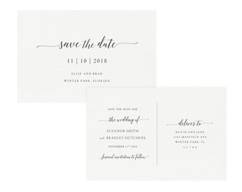 Adel 4x6 Printable Save The Date Postcard Template Calligraphy Wedding Suite DIY Simply Editable PDF Instant Download