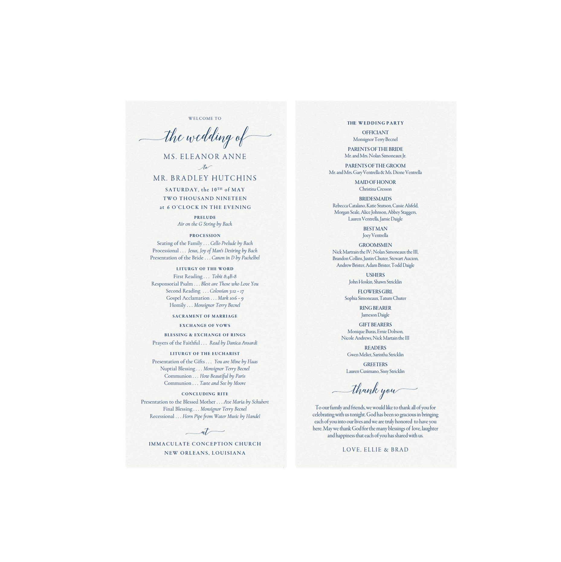 Adel: 4x9 Catholic Wedding Program Template in Navy Blue, Minimalist,  Modern Calligraphy Program, Printable Template PDF Instant Download