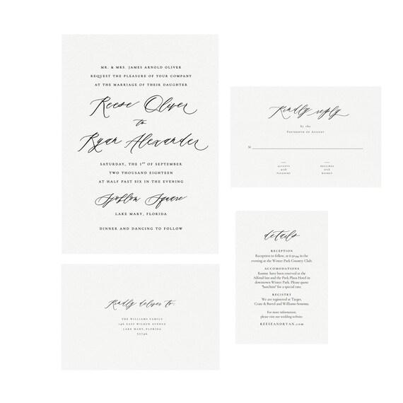 Reese Custom Printable Wedding Invitation Template Suite Handwritten Calligraphy Invitation Suite Editable Pdf Instant Download Ss002 2c