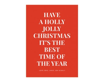 Holly Jolly Printable Holiday Card Template in Red, Size: 5x7 (A7), Colorful Holiday Card, Minimal Holiday Card, PDF Holiday Card Template
