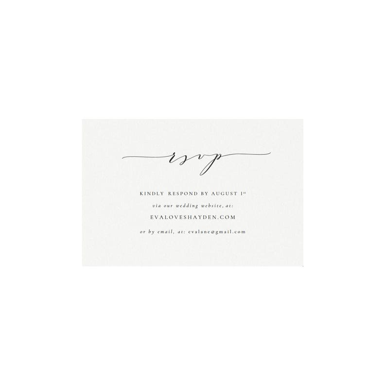 Email Reply Melia: RSVP Card in Black Calligraphy Minimal Template Editable Templett Instant Download Printable Wedding Website RSVP Card