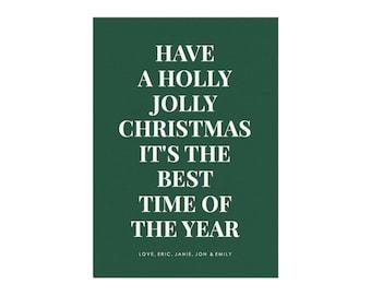 Holly Jolly Printable Holiday Card Template, Size: 5x7 (A7), Colorful Holiday Card, Minimal Holiday Card, PDF Holiday Card Template