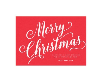 Merry Christmas Printable Holiday Card in Red, One-Sided, Size: 5x7 (A7), Whimsical Card, Simple Holiday Card, Printable Christmas Card