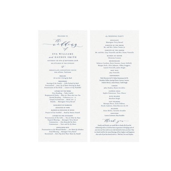 Melia Catholic Wedding Ceremony Program Printable Template Navy Blue 4x9 Calligraphy Printable Template Editable Templett Instant Download