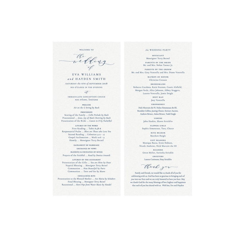 Melia: Catholic Wedding Ceremony Program Printable Template Navy Blue 4x9  Calligraphy Printable Template Editable Templett Instant Download