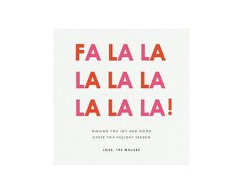 Fa La La Printable Holiday Card Template, Size: 5.5x5.5 (Square), Colorful Holiday Card, Minimal Holiday Card, PDF Holiday Card Template