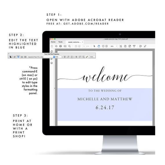 Adel 11x14 And 18x24 Printable Welcome Sign Template Calligraphy Sign Printable Wedding Sign Reception Sign Pdf Instant Download