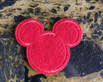 2 Love Mickey Mouse Square Black n White Embroidered Iron On Sew On Patch 2.25 L x 2.25 W SAME Day SHIPPING Before 12pm EST Free Shipping