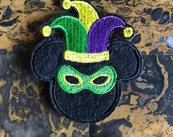 Fat Tuesday Mickey Mouse Iron On Patch New Orleans Mardi Gras