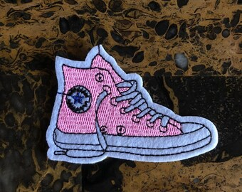 b82f0be8b5ea 1 Pink Canvas Sneaker Converse Look Iron-On Sew-On Patch 2.25