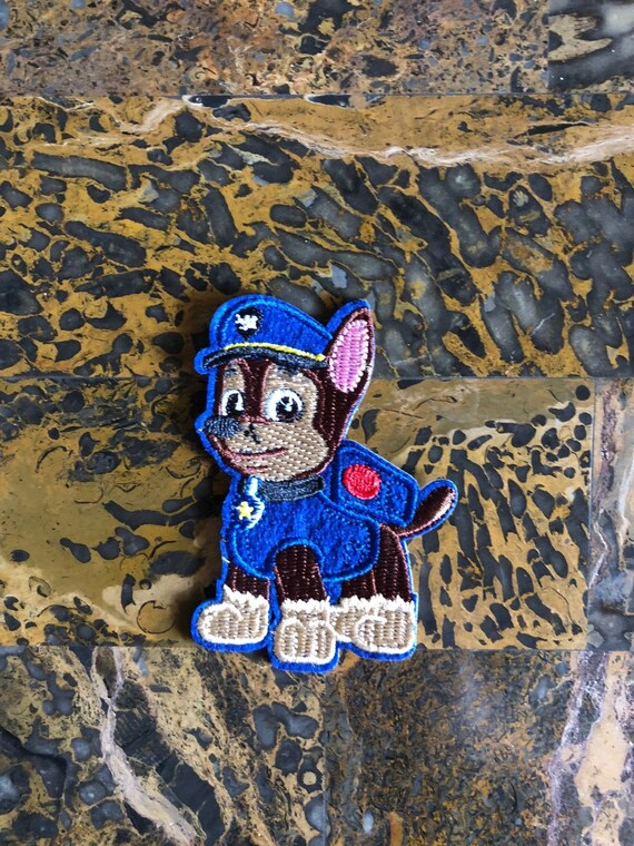 """6,1 x 7 cm Application Embroided Iron on patches blue PAW PATROL /""""CHASE/"""""""