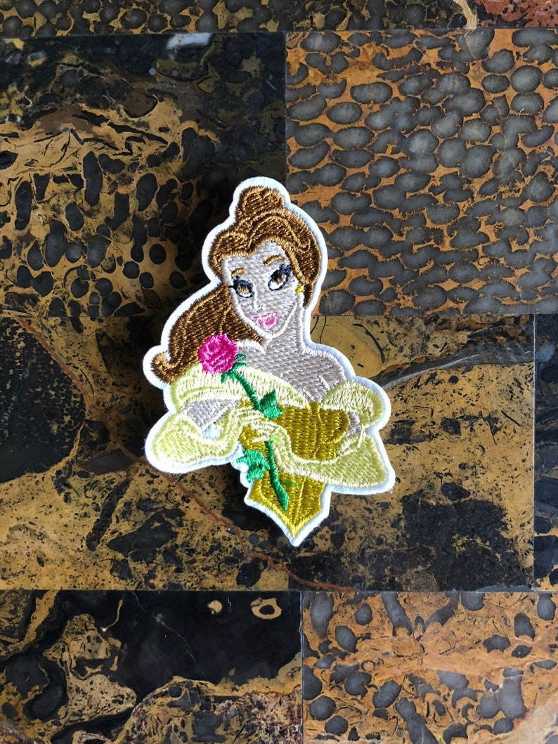 "2 Princess Belle Disney Beauty the Beast Iron Sew On Patch 3.25/"" L x 2.25/"" W"