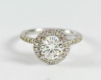 Women's Moissanite Halo, Engagement Ring, 14k White Gold, Diamond White Gold Ring, Wedding Ring, Anniversary Ring, For Her, For Women