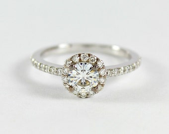 Moissanite Halo Ring, Engagement Ring, Solid 14k White Gold, Diamond Wedding Ring, Anniversary Ring, For Her, For Women