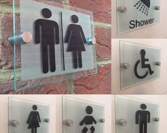 Modern Toilet Sign Plaque Unisex Male Female Disbaled Shower Room Baby Change Signs Multi Options