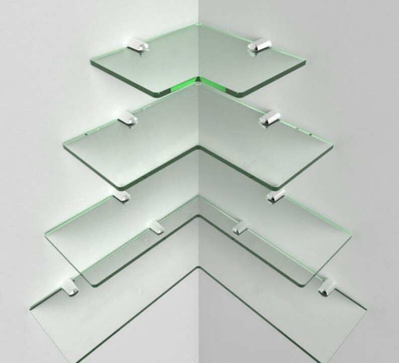 modern corner shelf glass acrylic shelving chrome fittings etsy rh etsy com