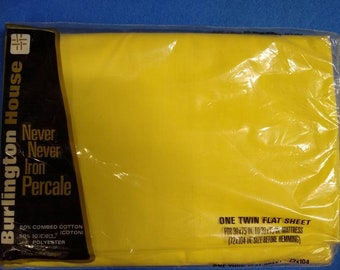 Burlington House Twin flat sheet yellow colorway. NIP - New in package.