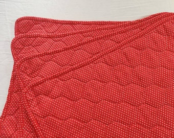 Vintage reversible quilted table placemats, set of four,red and white polka dots and gingham patterned.